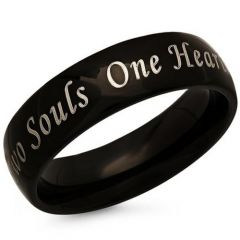 COI Black Tungsten Carbide One Hearts Two Souls Ring-TG846