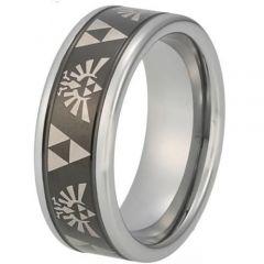 COI Tungsten Carbide Black Silver Legend of Zelda Beveled Edges Ring-TG848