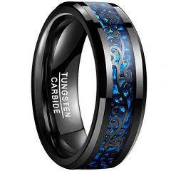 COI Black Tungsten Carbide Carbon Fiber Beveled Edges Ring-TG878