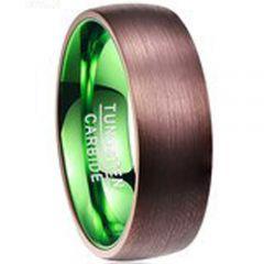 COI Tungsten Carbide Green Espresso Dome Court Ring-TG941