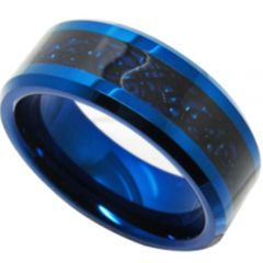 COI Tungsten Carbide Black Blue Dragon Beveled Edges Ring-TG4156