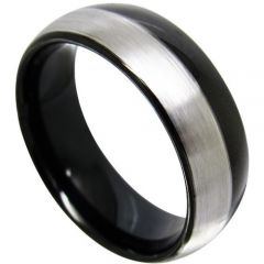 COI Tungsten Carbide Black Silver Offset Line Dome Court Ring-TG4361