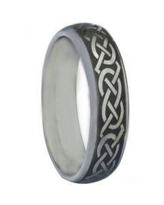 COI Tungsten Carbide Black Silver Celtic Dome Ring-TG880