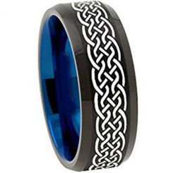 COI Titanium Black Blue Celtic Beveled Edges Ring-1135