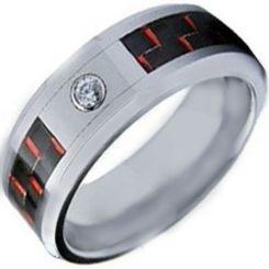 COI Titanium Carbon Fiber & Cubic Zirconia Ring-1140