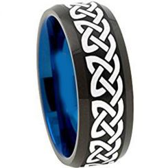 COI Tungsten Carbide Black Blue Celtic Beveled Edges Ring-TG1153