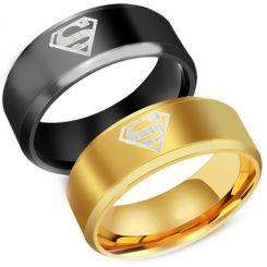 **COI Titanium Black/Gold Tone Superman Beveled Edges Ring-1159