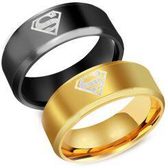 *COI Tungsten Carbide Black/Gold Superman Beveled Edges Ring-2761