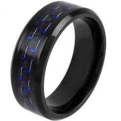 COI Black Tungsten Carbide Carbon Fiber Beveled Edge Ring-TG3791