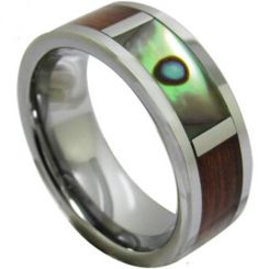 COI Titanium Ring With Wood and Abalone Shell-1224