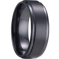 *COI Black Tungsten Carbide Polished Shiny Matt Step Edges Ring - TG1241