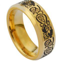 COI Gold Tone Tungsten Carbide Dragon Beveled Edge Ring-3831
