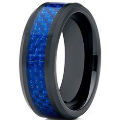 COI Black Titanium Beveled Edges Blue Carbon Fiber Ring-JT1277
