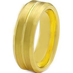 COI Gold Tone Tungsten Carbide Center Groove Ring-TG1507