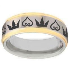 COI Tungsten Carbide Kingdom & Heart Step Edges Ring-TG1365BB