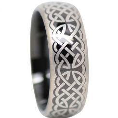 COI Titanium Black Silver Celtic Dome Court Ring-1372