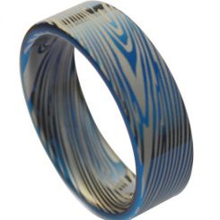 COI Blue Titanium Damascus Pipe Cut Flat Ring-1373