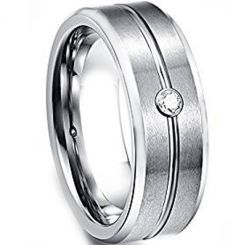 COI Tungsten Carbide Center Groove Cubic Zirconia Ring-TG1449