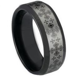 COI Black Tungsten Carbide Cross Beveled Edges Ring-TG1492