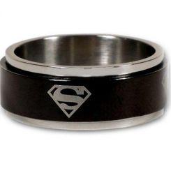 *COI Titanium Black Silver Superman Step Edges Ring-JT1493A