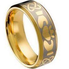 COI Gold Tone Tungsten Carbide Mo Anam Cara Celtic Ring-TG1495