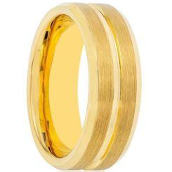 COI Gold Tone Titanium Center Groove Beveled Edges Ring-1507