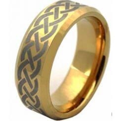 COI Gold Tone Titanium Celtic Beveled Edges Ring-1552