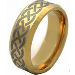 COI Gold Tone Tungsten Carbide Celtic Beveled Edges Ring-TG4512A