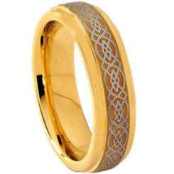 COI Gold Tone Tungsten Carbide Celtic Step Edges Ring-TG1556