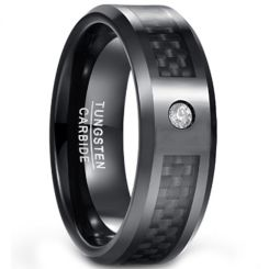 COI Black Tungsten Carbide Carbon Fiber Ring With CZ-TG1567CC