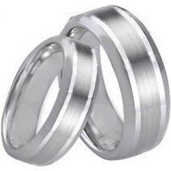 COI Tungsten Carbide Double Lines Beveled Edges Ring-TG1662