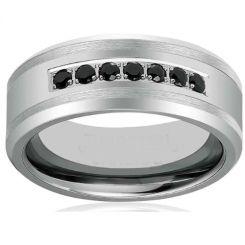 COI Titanium Beveled Edges Ring With Black Cubic Zirconia-1709