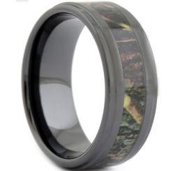 COI Black Tungsten Carbide Camo Step Edges Ring-TG1807