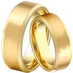 COI Gold Tone Tungsten Carbide Beveled Edges Ring - TG1829