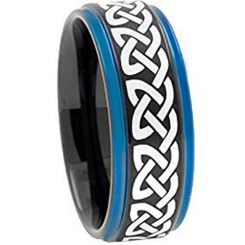 COI Tungsten Carbide Black Blue Celtic Step Edges Ring-TG1840