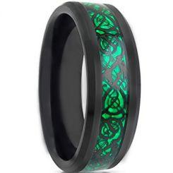 COI Tungsten Carbide Black Green Dragon Beveled Edges Ring-TG1841