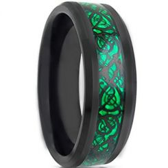 COI Black Titanium Dragon Ring With Green Carbon Fiber-JT1089AA