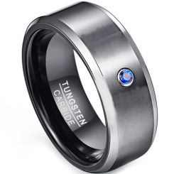 COI Tungsten Carbide Ring With Created Blue Sapphire-TG1853