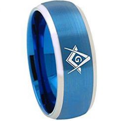 *COI Tungsten Carbide Masonic Beveled Edges Ring-TG1867