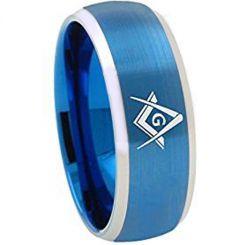 *COI Titanium Blue Silver Masonic Beveled Edges Ring-1867