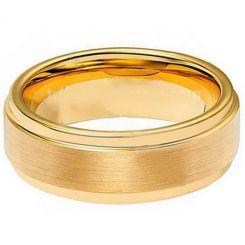 *COI Gold Tone Tungsten Carbide Polished Shiny Matt Step Edges Ring-TG1942A