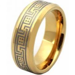COI Gold Tone Titanium Greek Key Beveled Edges Ring-1982