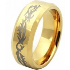 COI Gold Tone Tungsten Carbide Celtic Beveled Edges Ring-TG2134A
