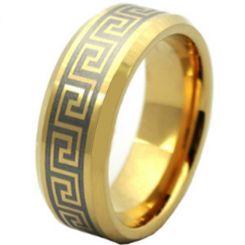 COI Gold Tone Titanium Greek Key Beveled Edges Ring-1988