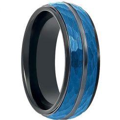 COI Titanium Black Blue Faceted Ring-199