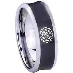 COI Tungsten Carbide Concave Firefighter Ring-TG2030