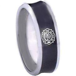 COI Titanium Black Silver Concave Firefighter Ring-2030