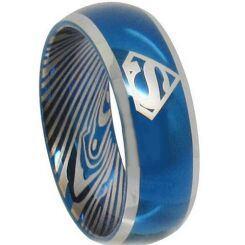 *COI Titanium Blue Silver Damascus Superman Ring-2085