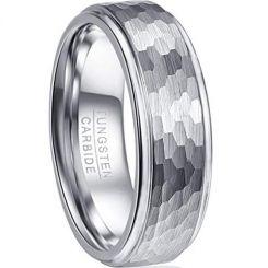 COI Tungsten Carbide Hammered Step Edges Ring - TG2093