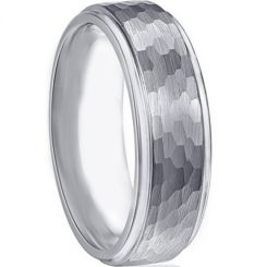 COI Tungsten Carbide Hammered Step Edges Ring - TG2093